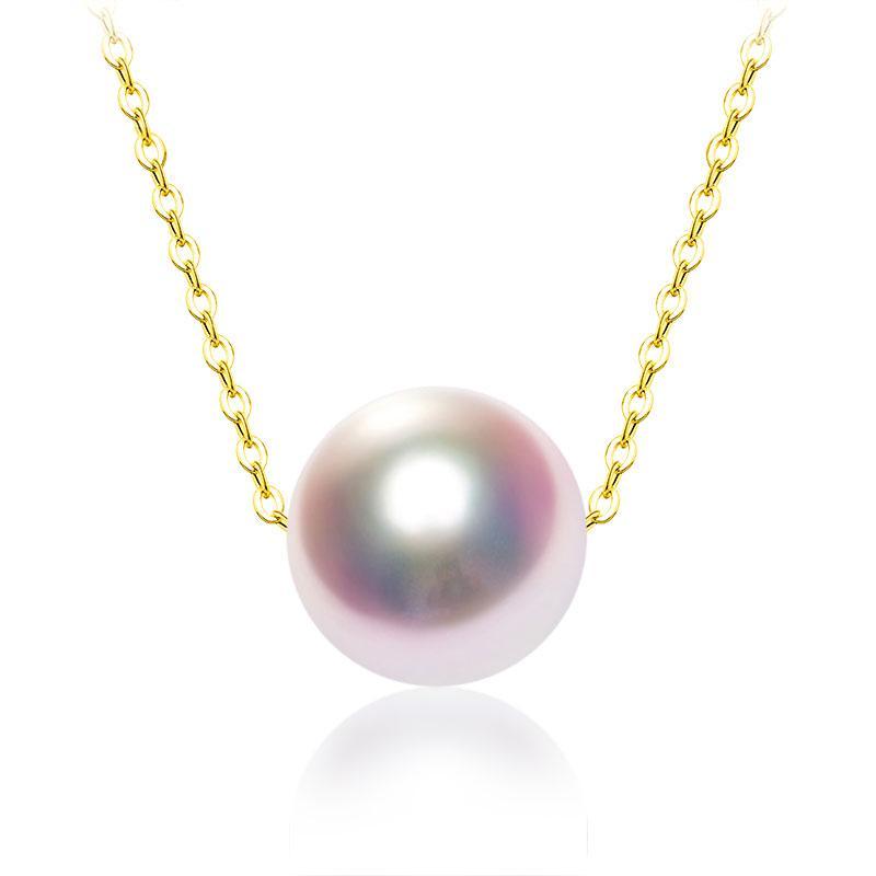 Zhixi natural AKOYA agua de mar perla colgante collar 18K puro oro amarillo Cadena 6,5-7mm redondo blanco perla para las mujeres joyería fina