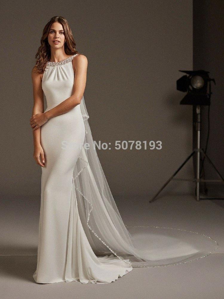 2019 novo em simples colher mangas traseira aberta sereia spandex pleatbeadingbuttons vestido longo de noite frete grátis 5Oa0 #
