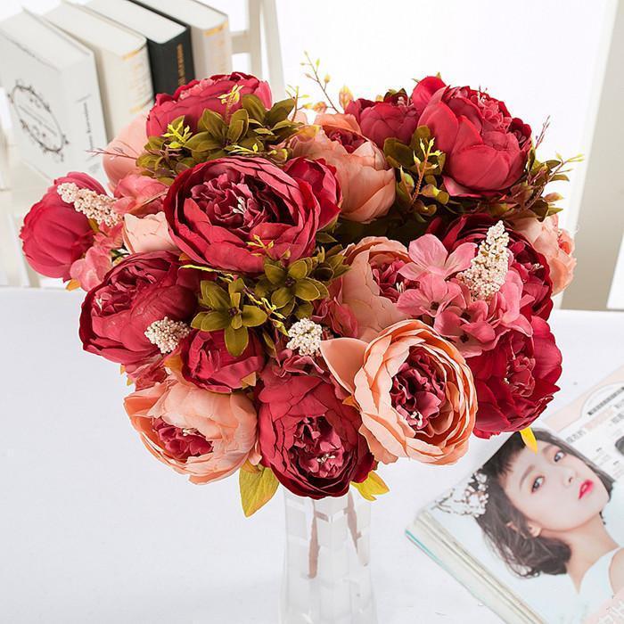 1 Bouquet 10 Heads Vintage Artificial Peony Silk Flower Wedding Home Decor Hight Quality Fake Flowers Peony