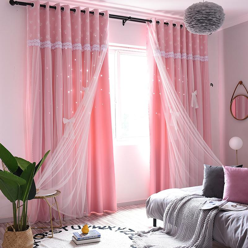 Double Layer Blackout Curtains Hollow Star For Living Room Home White Decor Panels Voile Curtain For Sheer Bedroom With Window