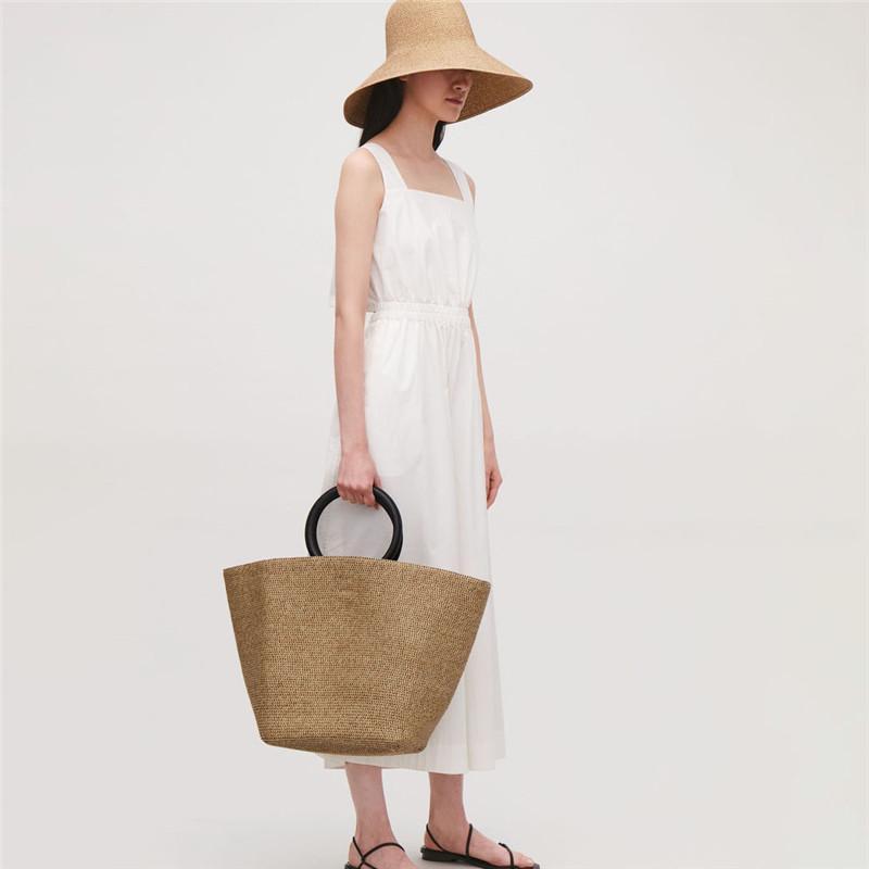 Large Capacity Solid Color Straw Bag 2020 Women Handbag Bohemian Summer Beach Bags Lady Tote Handmade Rattan Female Travel Purse