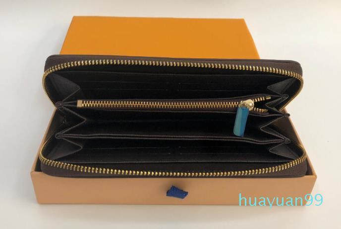 Nueva moda sola cremallera damas mujeres de los hombres de cuero monedero largo con tarjeta de cuadro naranja 60017