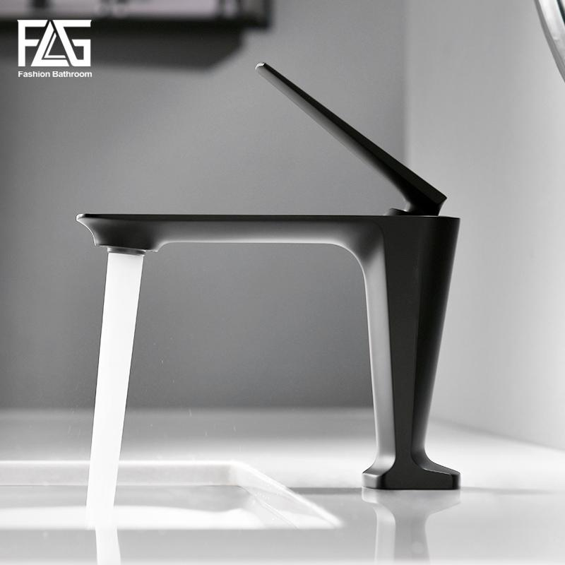 FLG Basin Faucets Hot and Cold Morden Black Faucet Taps Bathroom Sink Faucet Single Handle Hole Deck Mounted Wash Mixer Tap 1091