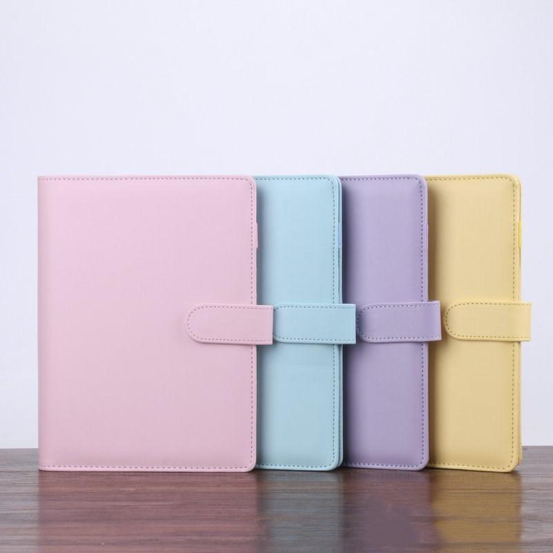 5 개 색상 A6 빈 노트북 바인더 19 * 13cm 느슨한 잎 노트북 종이 PU 가짜 가죽 커버 파일 폴더 나선 플래너 방명록없이