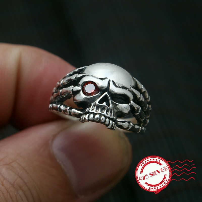 S925 plata esterlina anillo de la joyería hecha a mano retro estilo clásico personalidad garra de la garra del cráneo de los hombres de un solo ojo forma 2020 nuevo regalo
