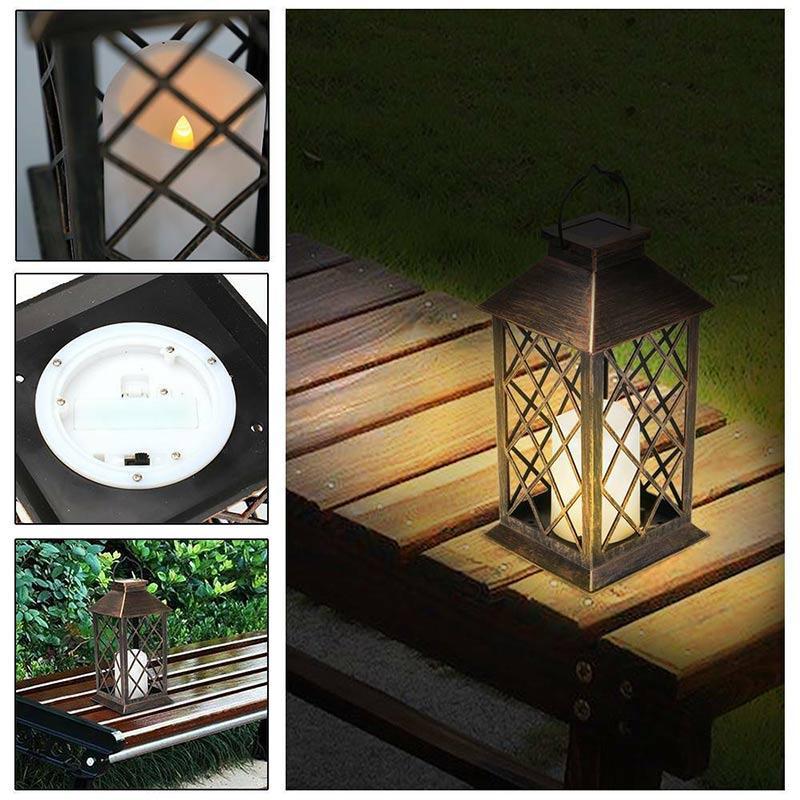 Heiße neue solarbetriebene LED flackernde Kerze Laterne Wasserdicht hängend Außengarten Patio-Garten-Park Yard Picknick