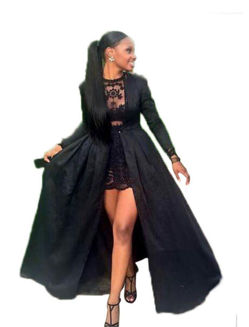 Женские платья партии Sheer Кружева Женщины Пром платья Sexy Тонкий 2 шт платье выдалбливают с длинными рукавами Maxi пальто платья Мода