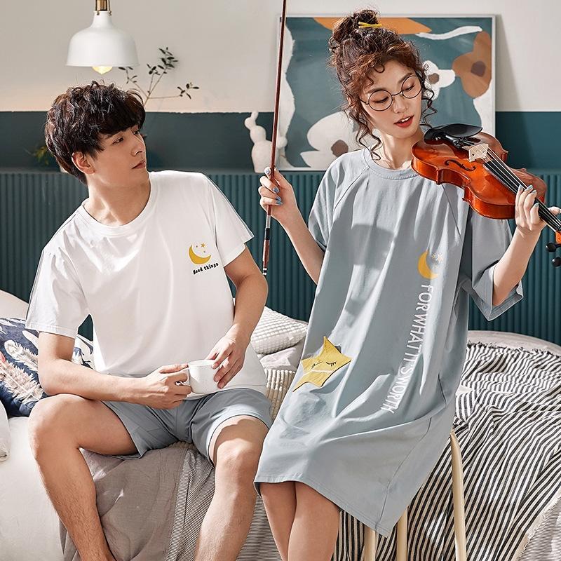 yoMUl VYUvh Super Family coppie casuali estate delle donne vestiti di cotone pigiami estate casa pigiama stile manica corta coreano notte delle donne sveglie