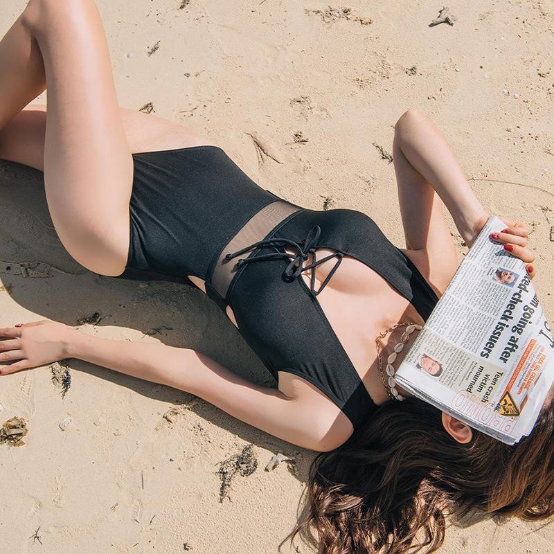 черной цельный купальник глубокого V сексуального прозрачный живот высокое похудение EFAxa XZF1k талия корейских женщин охватывающее 2019 треугольник талия купальника