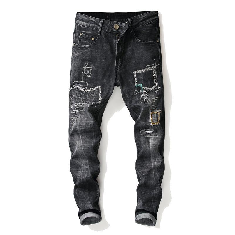 Homens de luxo estilo europeu americano denim calças zipper Magro calças de brim tipo Patchwork buraco negro de brim Lápis Calças para homens
