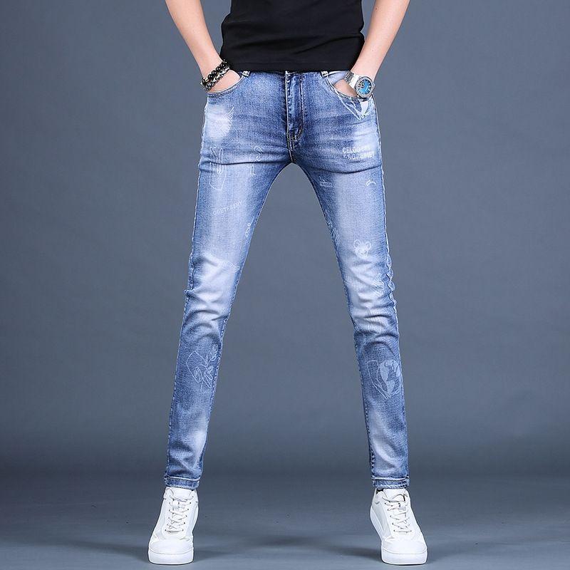 47DcS imfNY Спринг мужских печатные бренд мужской похудение случайные брюки стрейч и джинсы джинсы нога модного все-матч рваной света цвета случайного
