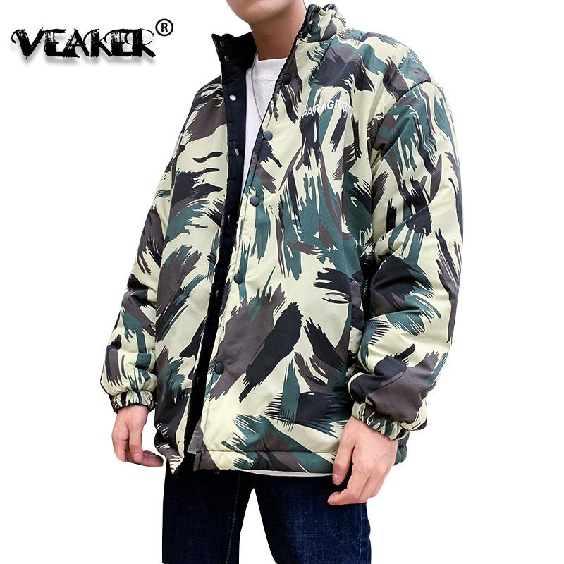 2020 New Winter Camouflage Jacket Men Double Sided Coat Padded Cotton Thick Warm Parka Jackets Stand Collar Brand Coat Clothes