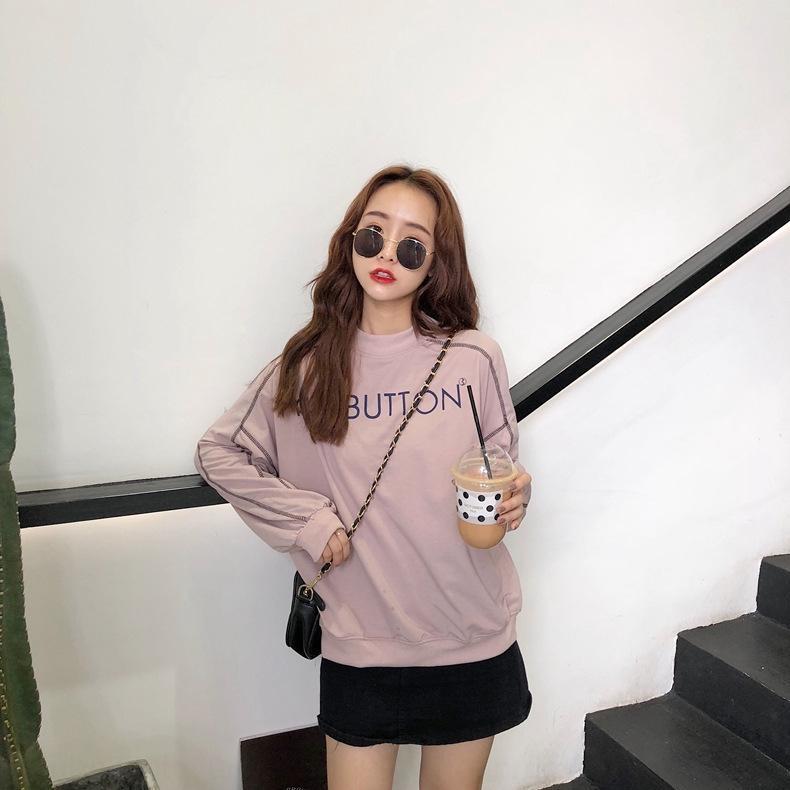 2020 Herbst der neuen koreanischen styleStyle Buchstabedrucken Pullover lose abnehmen Halbrollkragen Langarm-Pullover für Frauen