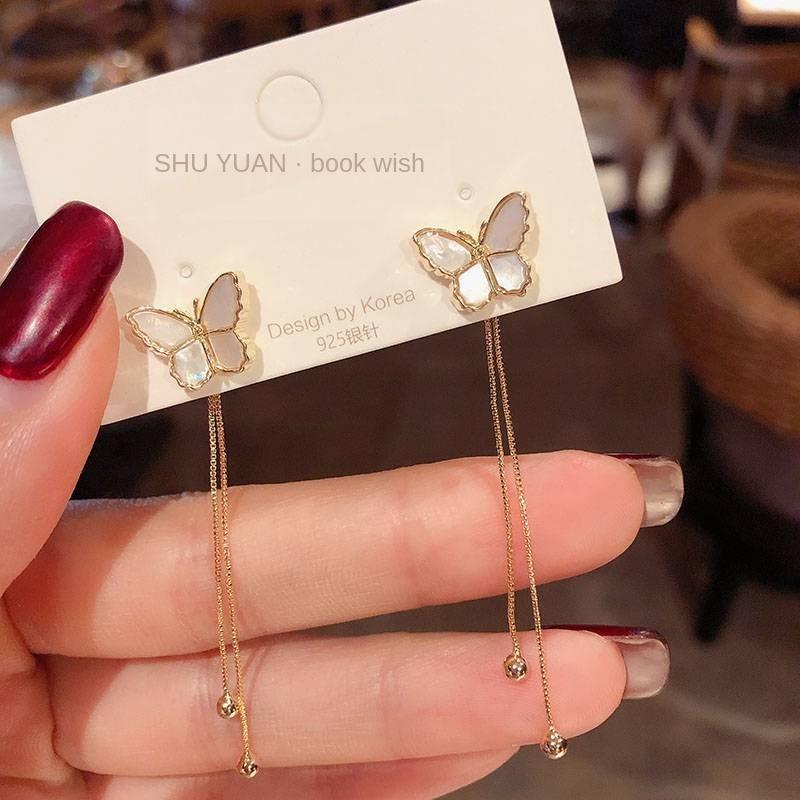 EELQC s925 agulha de prata borboleta borla criativo Coreia do Sul nova temperamento moda longa avançada borboleta e brincos moda feminina