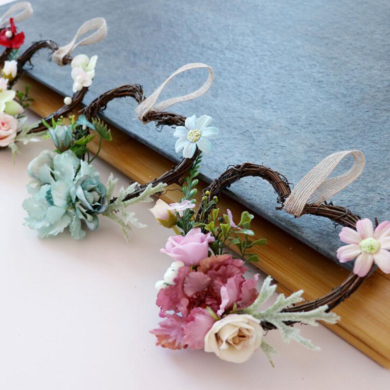 Fleurs décoratives Couronnes Spring Heart Design Rose Couronne florale Fête de la maison Décoration pour la décoration murale de la porte de la porte de mariage