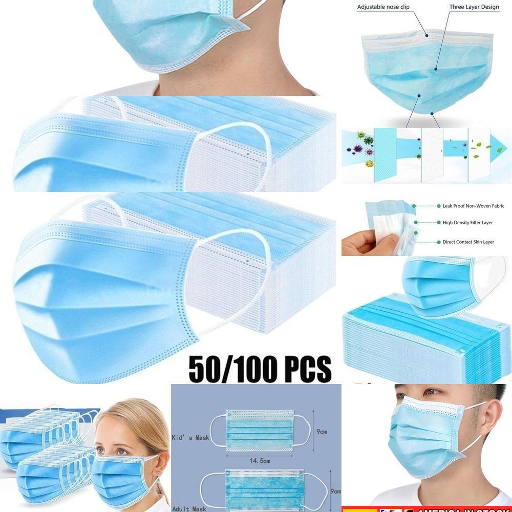 100pcs desechable Mascarilla de 3 capas no tejidas máscaras de boca para las mujeres y los niños K6IE4