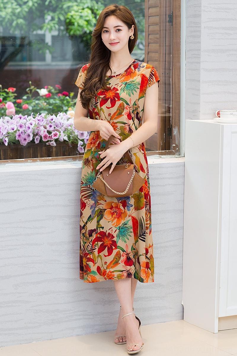 XwBUB Mutter Kleid des Sommers der Frauen mittleren Alters Mutter mittleren Alters Frauen kurzärmeliges künstliche Baumwollblumenrock Baumwollrock