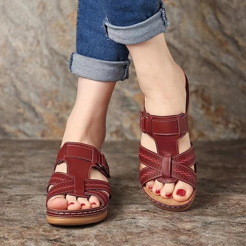 Женщины Сандалии ортопедическую обувь Низкие каблуки Walking Винтажная сандалии против скольжения дышащий Toe Корректор Cusion открытым носком