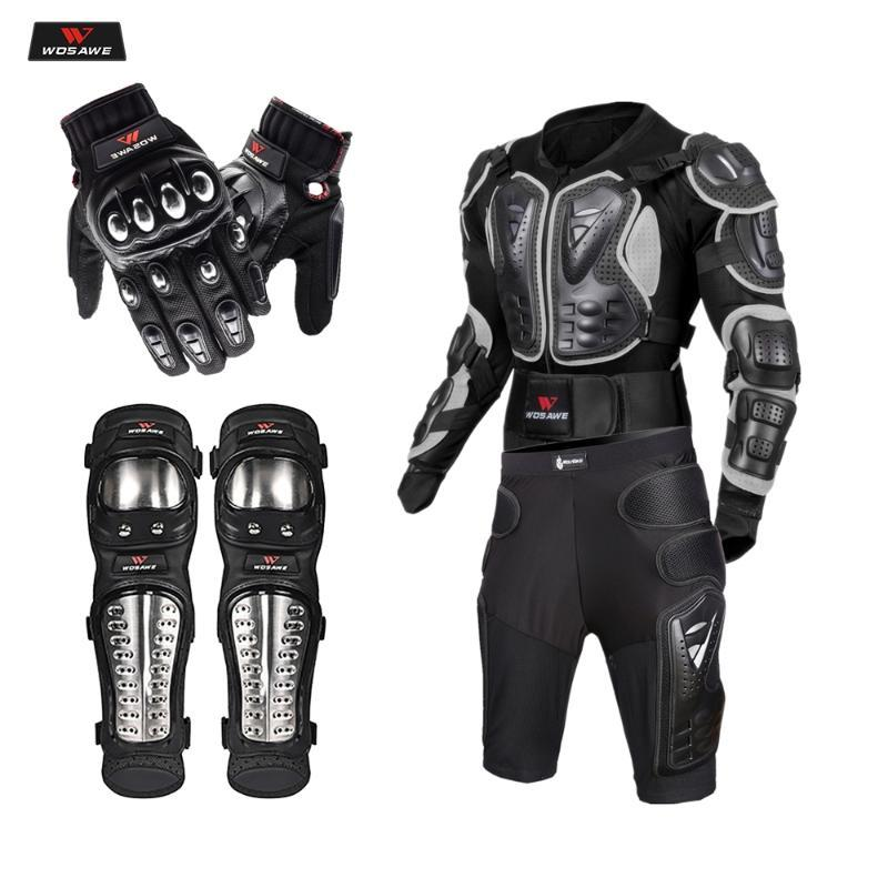 WOSAWE куртка мотоцикла Защитное снаряжение Motorcoss Гонки бронежилет + Шестерни Шорты Брюки + Motor Knee протектор + Мото перчатки