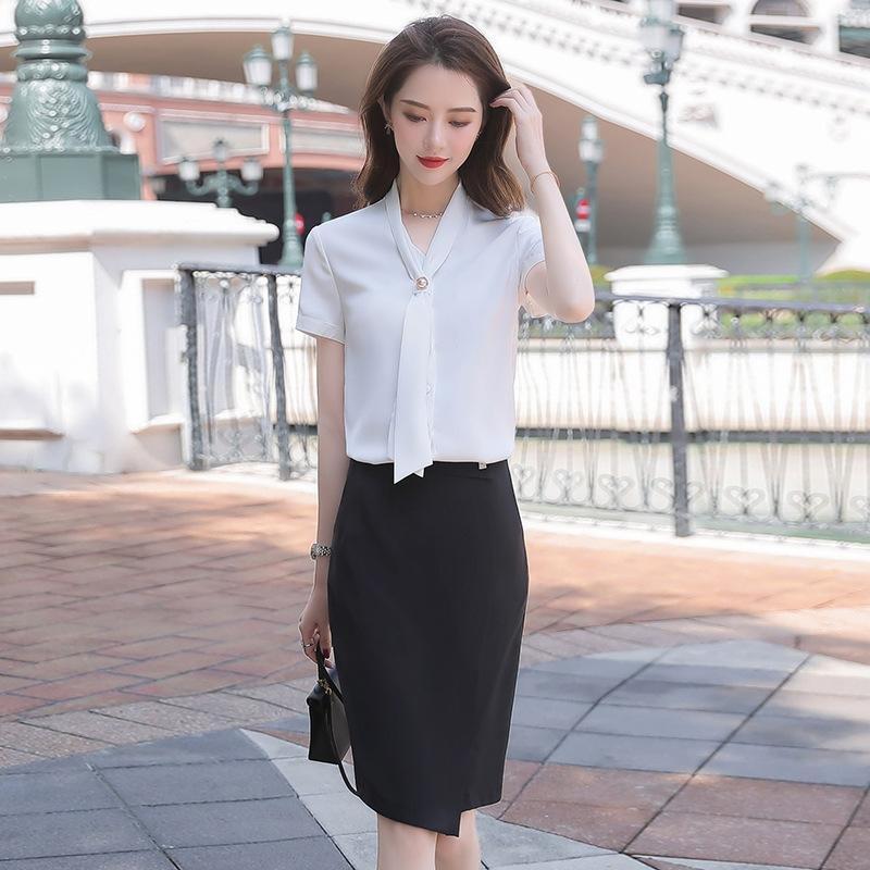 blanca delgada camisa de la cintura camisa blanca profesional temperamento de la manera 2020 nuevo verano de estilo coreano de manga corta de las mujeres S7baQ