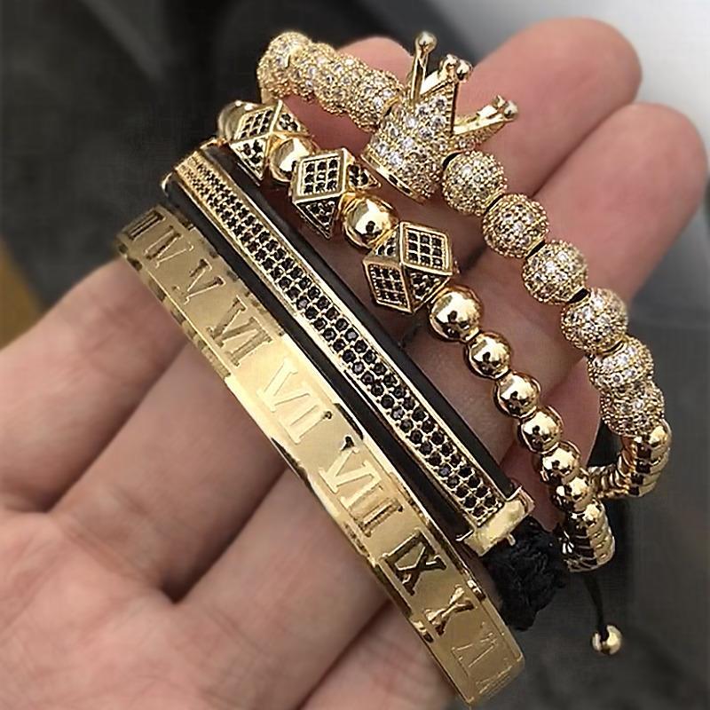 4шт / набор Классический ручной Плетение Браслет Золото Hip Hop Мужчины Pave Cz Циркон Корона римская цифра Браслет Роскошные ювелирные изделия J190703