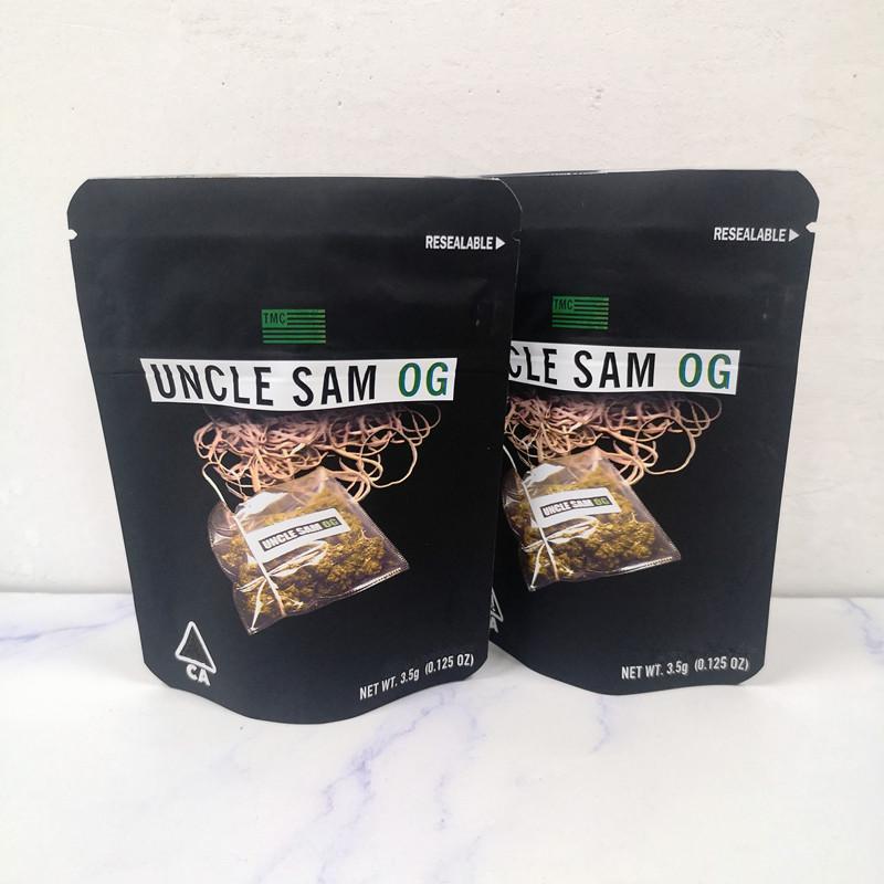 Oncle Sam og sac Californie 3.5g Mylar Sacs Mylar Sacs à glissière pour enfants pour 420 emballages de fleurs d'herbes sèches