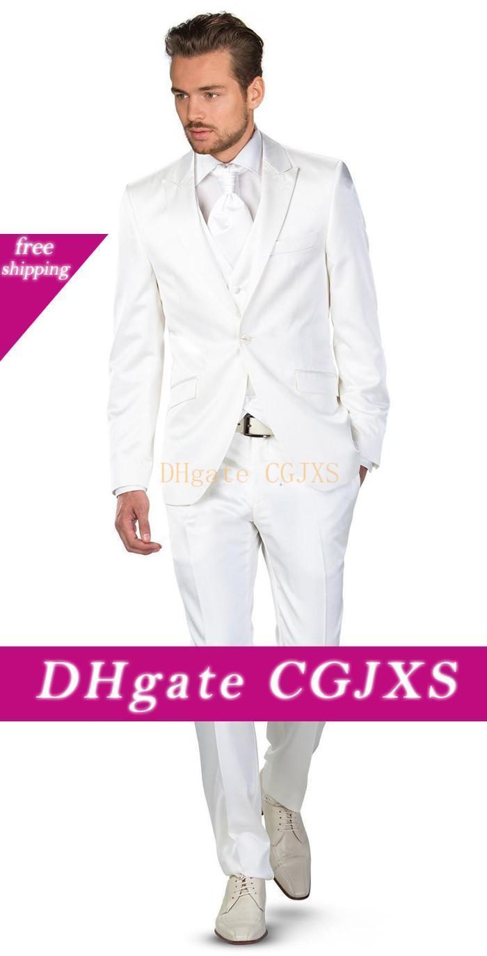 New Noivo Smoking Groomsmen Um Botão de pico lapela melhor homem casamento terno ternos Men S Blazer Custom Made (Jacket Pants Vest empate) 1420