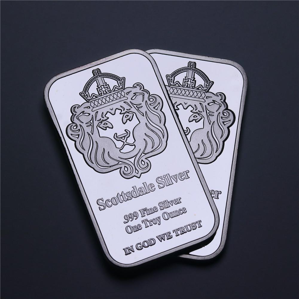 Scottsdale Messing Geplated Silver Bar 1 Oz Silver Bar Non Magnetic