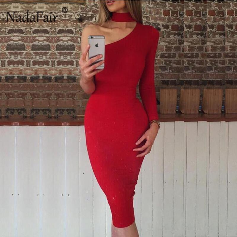 Горячие продажи Nadafair Sexy одно плечо женский клуб Bodycon платье с длинным рукавом Карандаш Черный Белый Красный Холтер Элегантный Бальные платья Женщина
