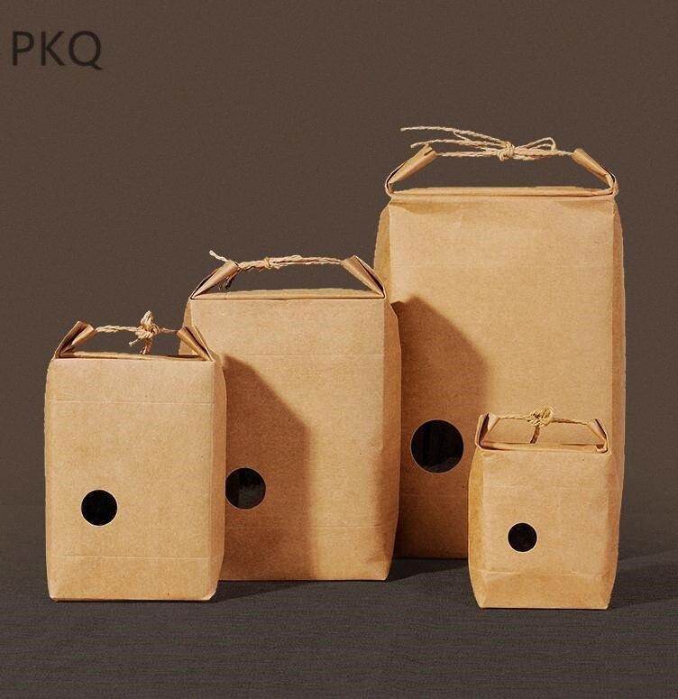 20pcs Kraft Papierverpackungsbeutel mit Fenstern Rot / Packpapier-Geschenk-Beutel mit Handgriff Hochzeitsfestbevorzugung einwickelnbeutel rS9c #