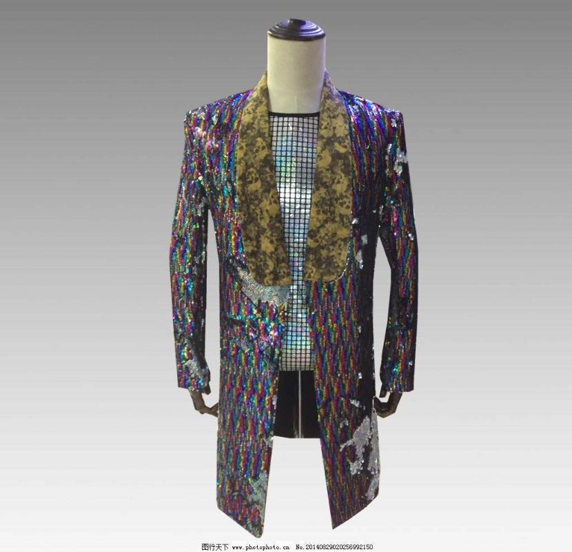 Высокое качество мужской цвет пайетками пиджак ночной бар певец церемониальный костюм хозяина костюм платье пальто костюм мужской