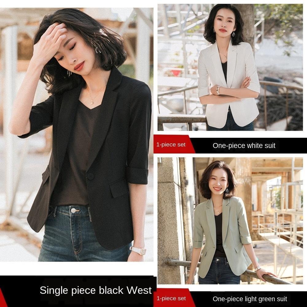 7kXQu 2020 Federmedium Sommer neue berufliche Weiß Temperament Anzug kleine schwarze Jacke Allgleiches und Hülsenjackenklage der Frauen wom 2jnJp