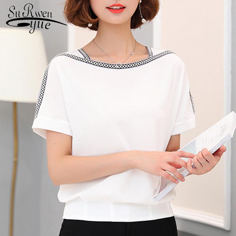 Мода женщин блузка рубашка 2020 причинной плюс размер короткий рукав женщин топы шифоновые блузки женские рубашки blusas femininas 0370 30 Y200828