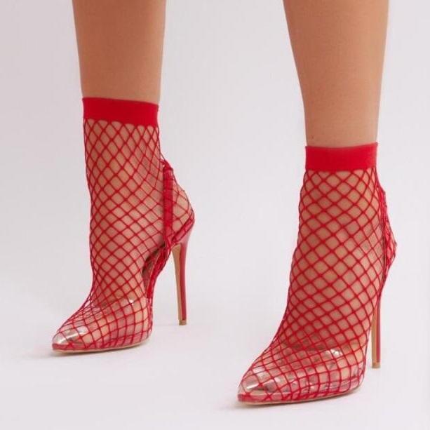Yeni Kadın Kırmızı Siyah Çıplak Sivri Burun PVC Dantel Moda Bilek Boots On Şeffaf Stiletto Topuklar Bilek Boots Seksi Slip, Out keser