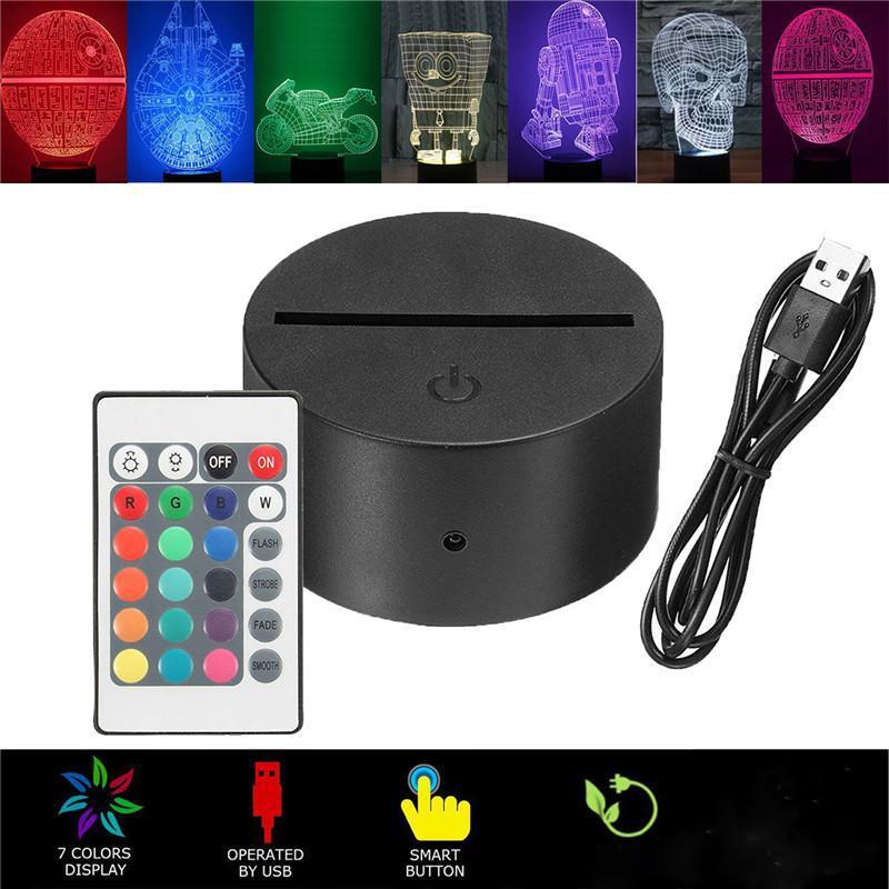 3D LED-Nachtlicht-Lampen-Unterseite, LED 3D Illusion Nachtlichter, 7 Farben für Schlafzimmer Kinderzimmer ändern Geschäft Café Büro lebt
