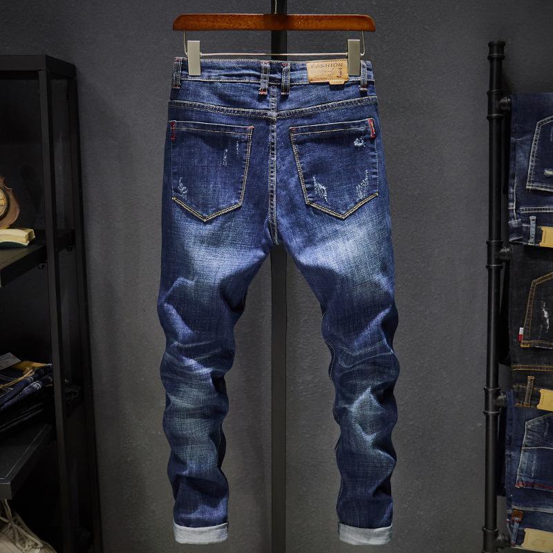 Марка байкер Slim Fit Омывается Урожай Ripped для упругих джинсовых брюк Узких джинсов мужчин MX200814