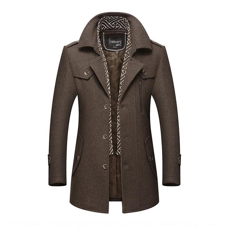 engrossado lapela lã casaco de meia-idade dos homens casaco de lã nova lenço gola meados de comprimento lenço dos homens de lã de lã para os homens