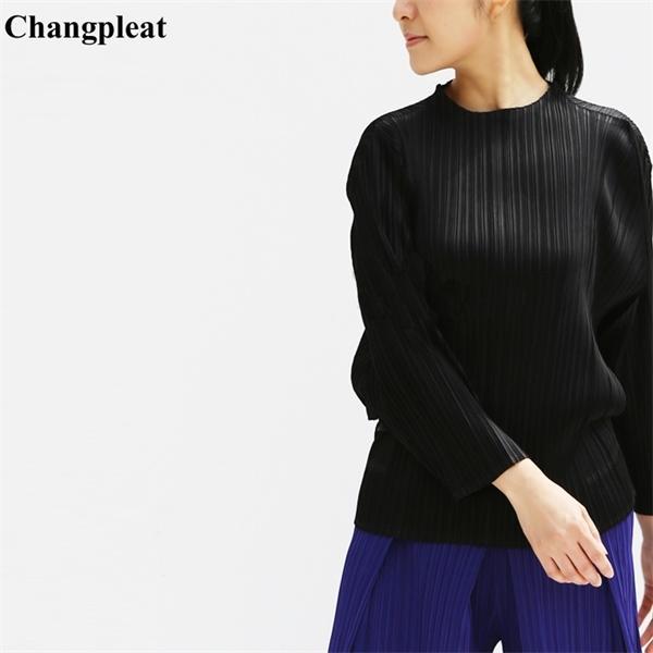 Changpleat Spring Женщины улицы Мияк Свободные плиссированные дизайн сплошной стойку женского футболки прилив высокий плюс воротник футболки мода размер 0924 Reemj