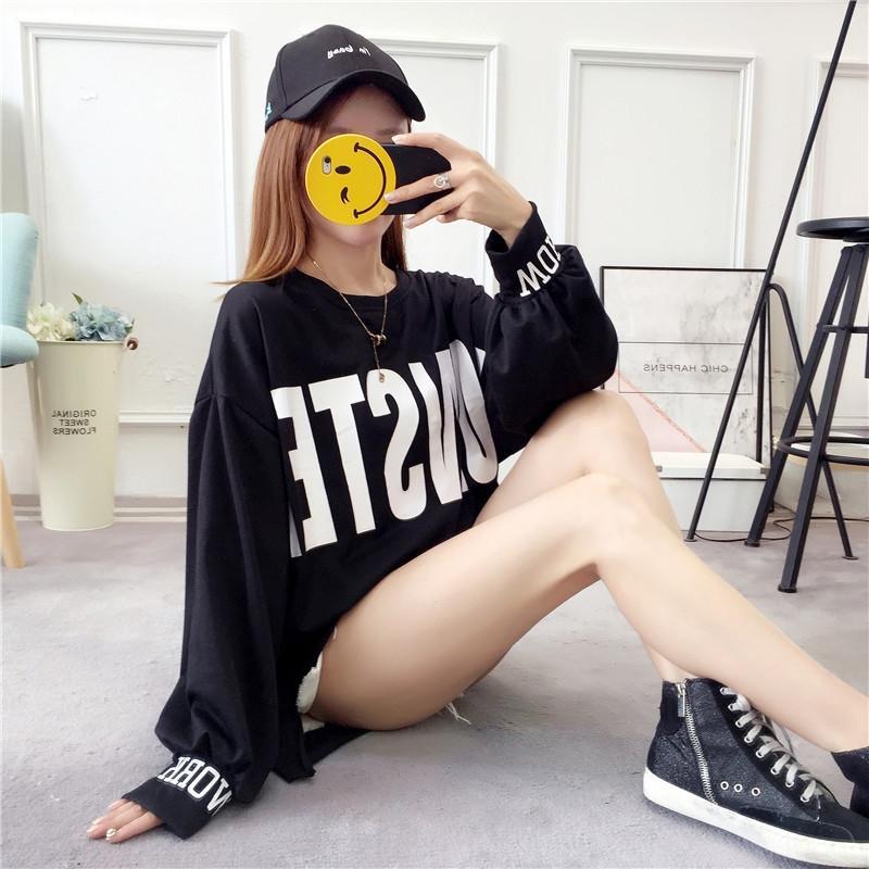 8RK27 toqPu perdere grasso autunno di grandi dimensioni abbigliamento bolla maglietta maglia manica MM maglia coreano delle donne del manicotto delle donne sottili stile 19 lungo T-