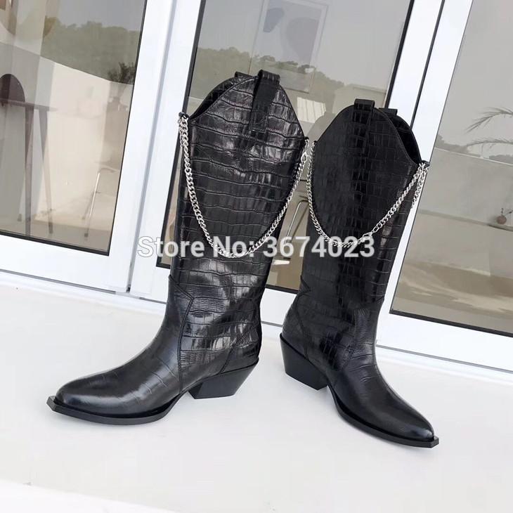 Qianruiti femmes Chaînes de cowboy Bottes Design Moto cuissardes à talons bas bout pointu Cowgirl long Ladies