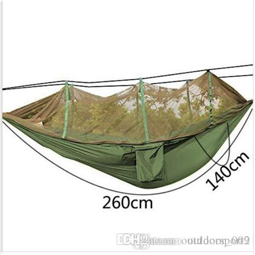 Multifunctional Sun hat Mosquito Hammock Outdoor Parachute Hammock with Mosquito Super Light Portable Double Army Green Camping Air Tents