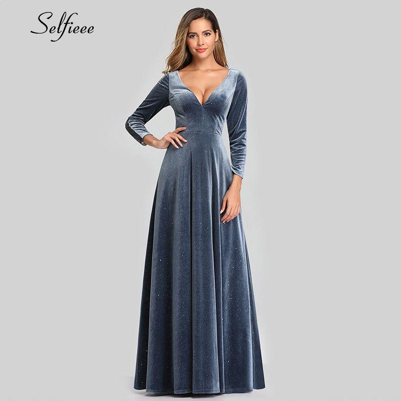 Sexy Velvet Maxi Robe pleine manches A-ligne col V profond lacée dans le dos Dusty Bleu Automne Femmes Robe de soirée élégante Robes Ropa Mujer