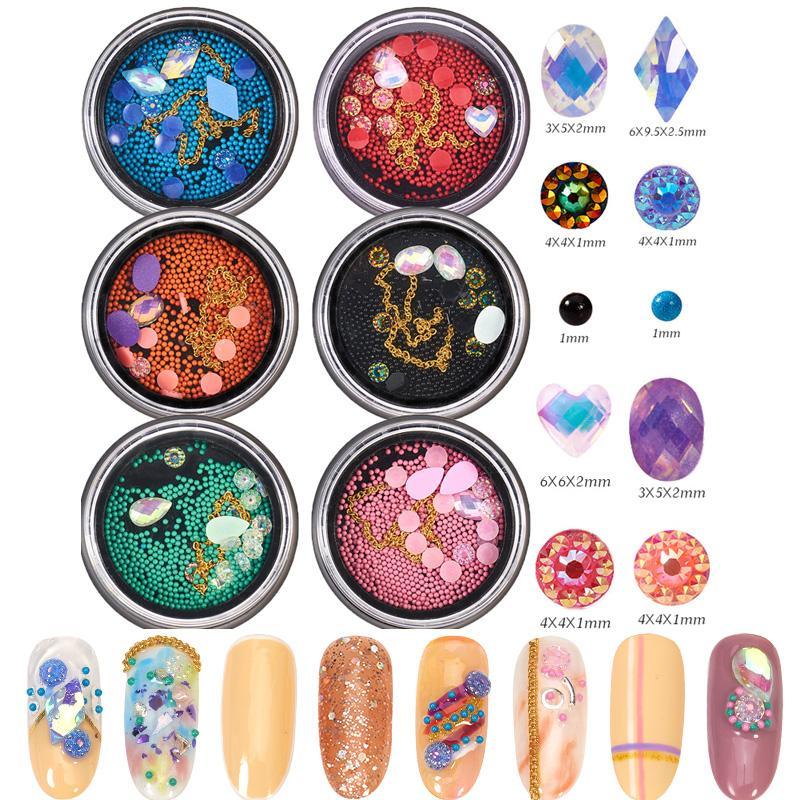 20 estilos de uñas cadena Rhinestone del arte del metal del cromo 3D Decoración granos de la flor se mezcló para la manicura del arte del clavo de DIY Piedras Salón de lentejuelas