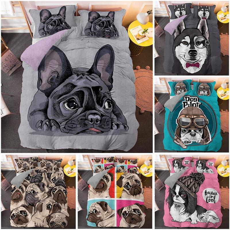 Cartoon Pug Duvet Cover Set Cute Dog 3D Beding Set 2/3pcs Single Twin Queen King Size Bed Drop Shipping Bedding Luxury