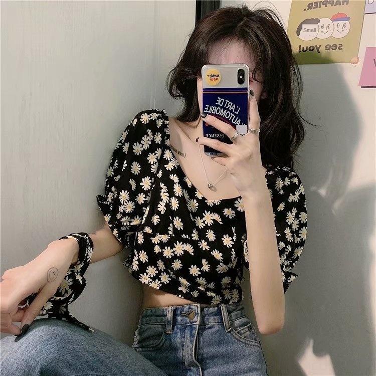 7EOPB Kragen Sommer koreanischen Stil Daisy Quadrat klein Kurzarmhemd Frauen Hülse Student wySEe Blumenalterungs Blase lose Freizeithemd