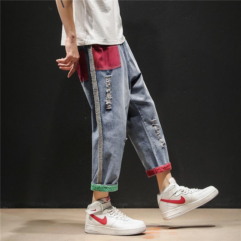 LAvqi UikEk 2019 yaz Jeans ve pantolon ve pantolon boyutu ince kot erkekler büyük dokuzuncu şişman erkekler renkli gevşek kontrast pantolonunuza Koreli sty harem