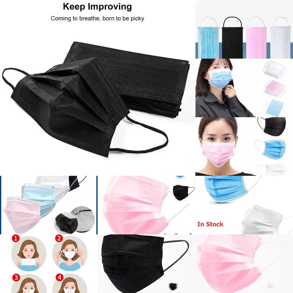 Cara 50/100/200 piezas desechables máscara protectora contra las gotitas respiratorias 3 capa de tejido de la boca para no máscaras protectoras de polvo Protección Earloop Negro Azul Pink1