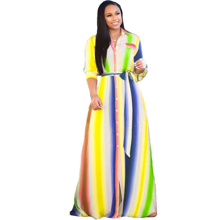 Плюс размер Женщины Платья весна Printed отворотом шеи длинные платья однобортный Сыпучие Макси платья с поясами