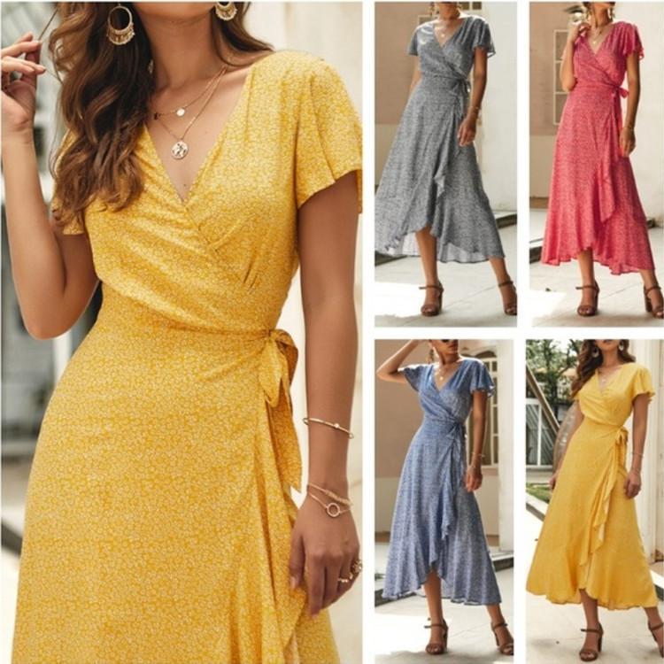 delle donne con scollo a V Wrapped floreale Beach Dress Summer Cool stampato a maniche corte Long Vacation Dress vacanze allentato Beach