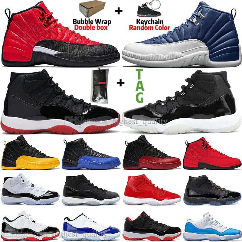 Nova aniversário 11 11s 25 Bred Concord 45 Shoes Space Jam Mens Basketball 12 12s Indigo Jogo Flu Real reverso Jogo Homens sapatilhas